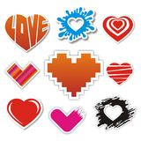 Collection of heart stickers Royalty Free Stock Images