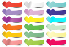 Collection  heart sticky notes. Transparent shadows Stock Photography
