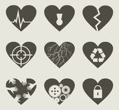 Collection heart2. Set of icons on a theme love. A vector illustration Stock Photos