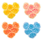 Collection hearts from flower soap Royalty Free Stock Photos