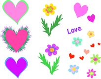 Collection of Hearts, Flowers, and Words Royalty Free Stock Image