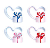 Collection of Hearts with Gifts Royalty Free Stock Image