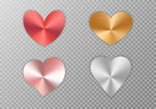 Collection of hearts with gradient. A collection of bright hearts with a metallic texture for the romantic design of congratulations for Valentine`s Day, the vector illustration