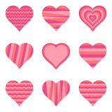 Collection of hearts,  illustration Royalty Free Stock Photos