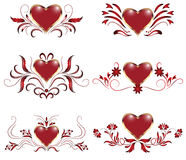 Collection of hearts with ornament Royalty Free Stock Images