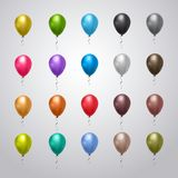 Collection Of Helium Balloons Colorful With Ribbons On Grey Background Holiday Decoration Set. Flat Vector Illustration stock illustration
