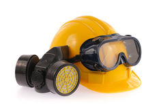 Collection of Helmet, Chemical protective mask and eye protection or goggles on white background stock photography