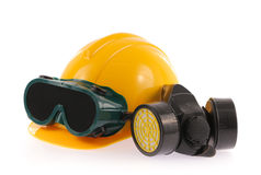 Collection of Helmet, Chemical protective mask and eye protection or goggles Royalty Free Stock Images