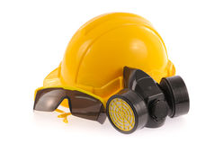 Collection of Helmet, Chemical protective mask and eye protection or goggles Stock Photography