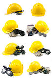 Collection of Helmet, gloves, ear defenders and goggles on white. Stock Photos