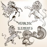 Collection of heraldic decorative animals. Set of vector detailed heraldic animals for design Royalty Free Stock Image