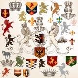Collection of heraldic decorative elements fleur de lis, shields vector illustration