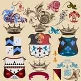 Collection of heraldic decorative elements Stock Image