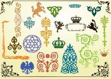 Collection of heraldic elements Stock Photography