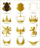 Collection heraldic gold elements. Vector royalty free illustration