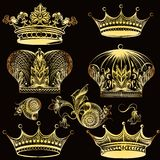 Collection of heraldic golden crowns Stock Image