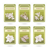 Collection of herbs labels Royalty Free Stock Images