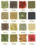 Collection of herbs and spices Royalty Free Stock Image