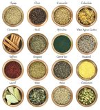 Collection of herbs and spices Royalty Free Stock Photography