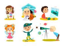Collection heureuse de bande dessinée d'enfants Enfants multiculturels dans différentes positions d'isolement sur le fond blanc illustration de vecteur