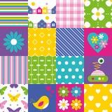 Collection heureuse de modèle de patchwork illustration libre de droits