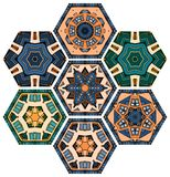 Collection hexagonal ceramic tiles with colorful abstract ornament.  royalty free illustration