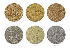 Set of Buckwheat, Golden Flaxseeds, Brown Flaxseeds, Chia, Quinoa and Poppy seeds. Collection of hi-res shot of Buckwheat, Golden Flaxseeds, Brown Flaxseeds royalty free stock photo
