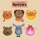 Collection of hipster cartoon character animals Royalty Free Stock Image