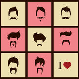 Collection of hipster retro hair styles and mustaches Stock Photos