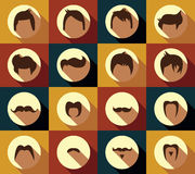 Collection of hipster retro hair styles and mustaches Royalty Free Stock Image