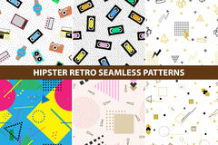 Collection of hipster retro memphis patterns. Royalty Free Stock Image