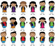 Collection of Hispanic or Latino Students in Vector Format. With Backpacks Stock Photos
