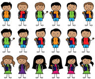 Collection of Hispanic or Latino Students in Vector Format. With Backpacks stock illustration
