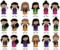 Collection of Hispanic or Latino Students in Vector Format. With Backpacks Royalty Free Stock Photography