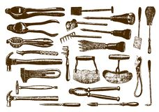 Collection of historic hardware. After an engraving or etching from the 19th century stock illustration