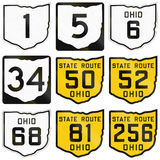 Collection of historic Ohio Route shields used in the United States vector illustration
