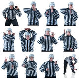 Collection of hockey referees gestures. Collection of Hockey referee images with some penalty signals. On the white background Stock Photo