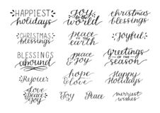 Collection with 16 Holiday Christmas hand lettering quotes vector illustration