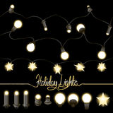Collection of holiday garlands. Collection of seamless holiday illuminated garlands. Large and small lamps in different visual angles. Lamps in the shape of Stock Photo