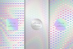 Collection of holographic backdrops. A set of metal foil with a holographic pattern. Vector illustration with neon background Royalty Free Stock Images