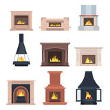 Collection of home different fireplaces to paste in the interior of the house phone or computer games. Vector Royalty Free Stock Photo