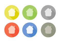Collection of home symbol rounded icon with shadow Stock Image