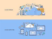 Collection of horizontal banner templates with networked electronic devices and office supplies. Cloud computing. Technology, information, files or data storage Stock Photos