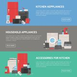 Collection of horizontal banners with household and kitchen appliances, accessories, utensils, electronic and manual. Tools and place for text. Modern colorful vector illustration