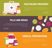 Collection of horizontal web banner templates with first aid kit, pills, medicines, medications and medical tools. Flat. Colorful vector illustration for online Royalty Free Stock Image