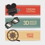 Collection of horizontal web banner templates with retro camera, 3d glasses, reel and film perforation border. Colorful royalty free illustration