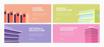 Collection of horizontal web banners modern buildings, skyscrapers of contemporary metropolis architecture and place for. Text. Flat bright colored vector Royalty Free Stock Photo