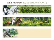 Banner template set, equestrian sports. Collection of horizontal web header designs, 4500 x 900 pixels, green trees and rider with horse as a background, copy royalty free stock photography