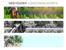 Banner template set, equestrian sports. Collection of horizontal web header designs, 4500 x 900 pixels, green trees and rider with horse as a background, copy royalty free stock photo