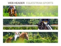 Banner template set, equestrian sports. Collection of horizontal web header designs, 4500 x 900 pixels, green trees and rider with horse as a background, copy stock images